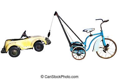 voiture, jouet, remorquage, trike