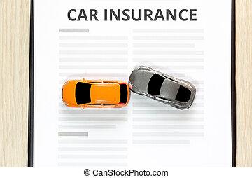 voiture jouet, sommet, accident, insurance., vue