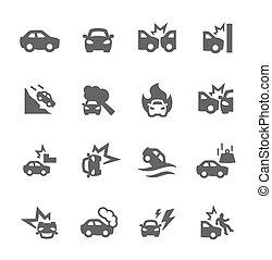 voiture, krach, icônes