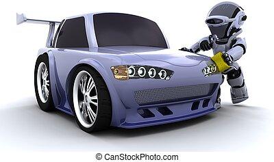 voiture, lavage, robot