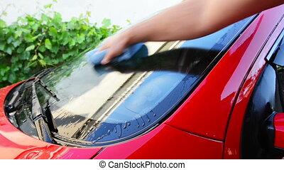 voiture, lavage, rouges