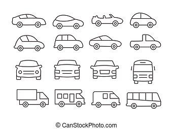 voiture, ligne, icônes