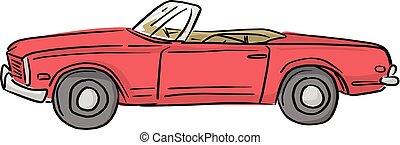 voiture, lignes, isolé, illustration, arrière-plan., vecteur, noir, retro, cabriolet, blanc rouge
