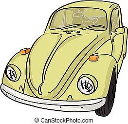 voiture, lignes, isolé, illustration, vecteur, noir, fond jaune, blanc, retro