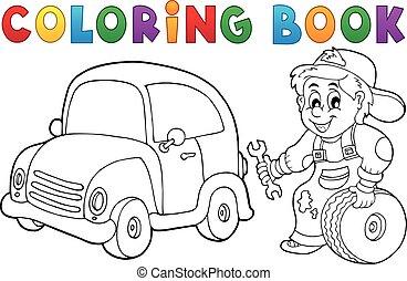 voiture, livre coloration, mécanicien