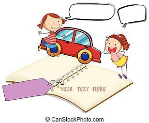 voiture, livre, filles, deux, vide