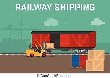 voiture, logistique, train., ouvriers, banner., camions, déchargement, vecteur, plat, ferroviaire, forklifts., livraison, cargaison, services., transport, transport, chargement, rail, concept