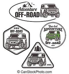 voiture, logo, trophée, de-route, camion, ensemble, 4x4, suv