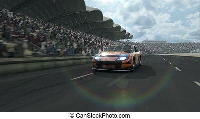 voiture, long, course, piste