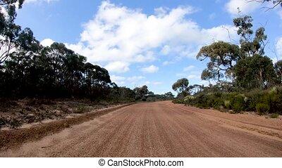voiture, long, en mouvement, route, défaillance, île, temps, sale, kangourou, voyager