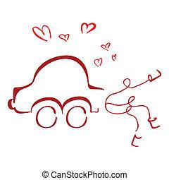 voiture, lune miel