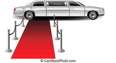 voiture, luxe, blanc, limousine, moquette rouge