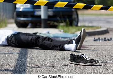 voiture, mâle, victime, accident