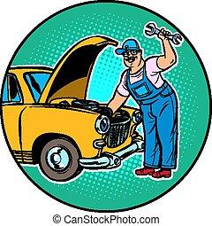 voiture, maître, réparation