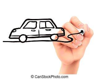 voiture, main, dessiné, 3d