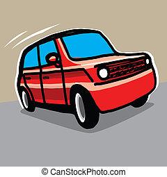 voiture, main, -, dessiné