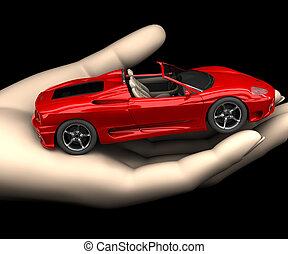 voiture, main