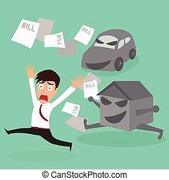 voiture, maison, homme affaires, dette, bill., évasion