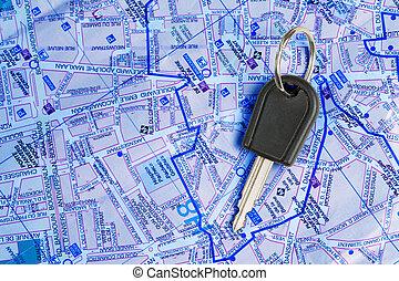 voiture, map., clã©
