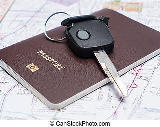 voiture, map., passeport, clã©