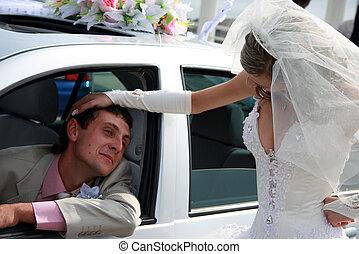 voiture, marié., palefrenier, mariée