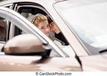 voiture, mariage, palefrenier, baisers, mariée