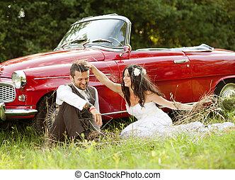 voiture, mariage, palefrenier, mariée