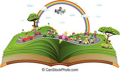 voiture, merveilleux, enfants jouer, livre contes