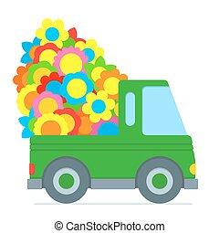 voiture, mignon, dessin animé, livraison, confection, vert, fleur