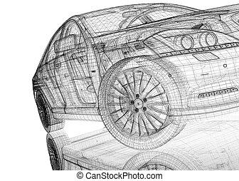 voiture, modèle, 3d