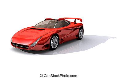 voiture, modèle, rouges, 3d