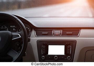 voiture, moderne, navigation, système, mockup