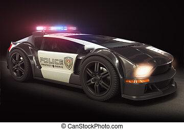 voiture, moderne, police, futuriste