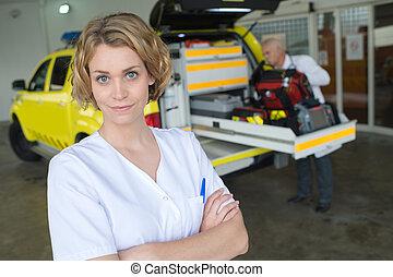 voiture, monde médical, poser, infirmière, suivant