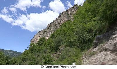 voiture, montagne, appareil photo, route