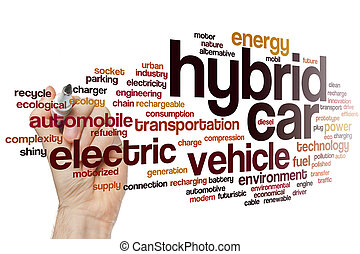 voiture, mot, hybride, nuage
