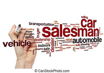 voiture, mot, vendeur, nuage
