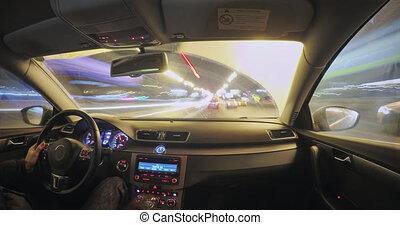 voiture, mouvement, nuit