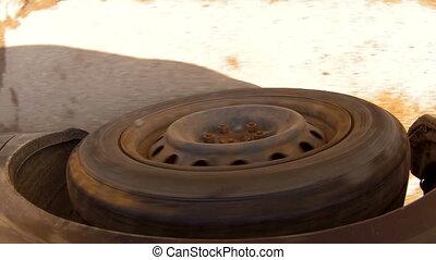 voiture, mouvement, quand, road., pneu