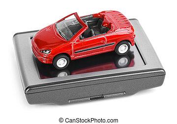 voiture, navigateur, jouet, gps