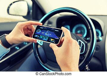 voiture, navigateur, smartphone, mains