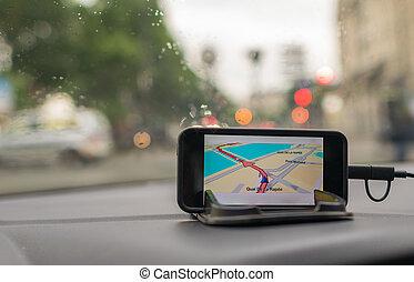 voiture, navigation, système, gps