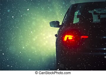 voiture, neige, conduite