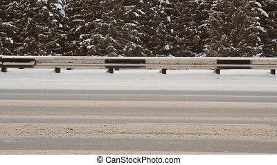 voiture, neige, hiver, highway., tempête neige