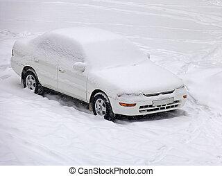 voiture, neige, sous