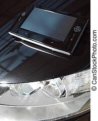 voiture, noir, net-book, l