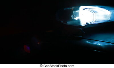 voiture, nuit, sirène, ville, police