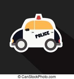 voiture, ombre, vecteur, police, long