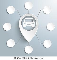 voiture, options, 8, marqueur, grand, blanc