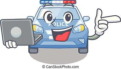 voiture, ordinateur portable, police, dessin animé, bord route